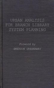 Urban Analysis for Branch Library System Planning. cover image