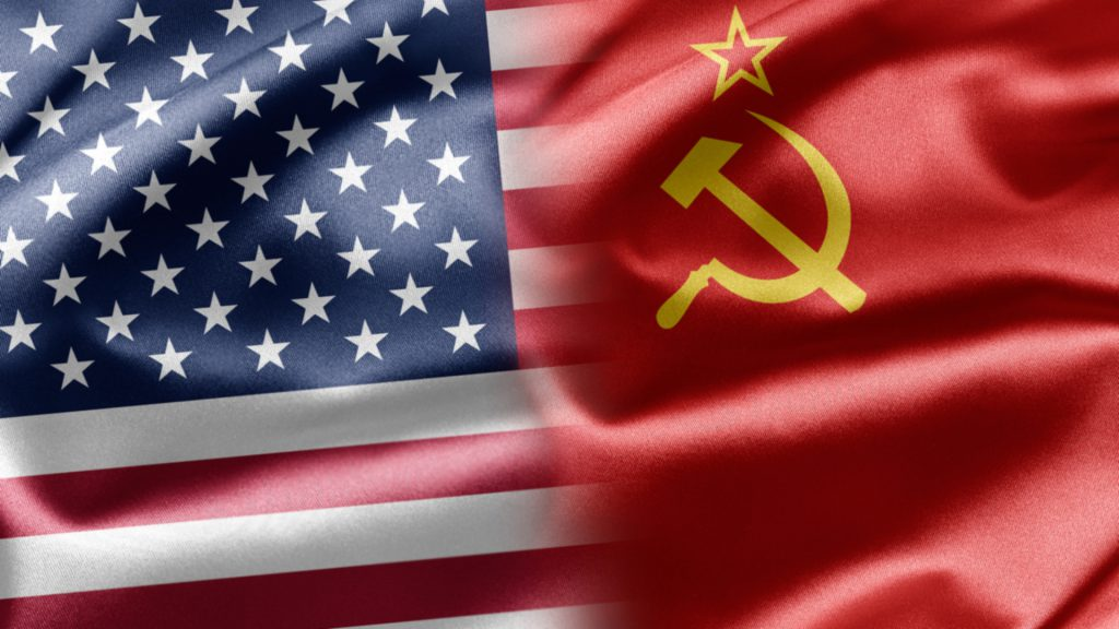 Flags of the United States and Soviet Union.