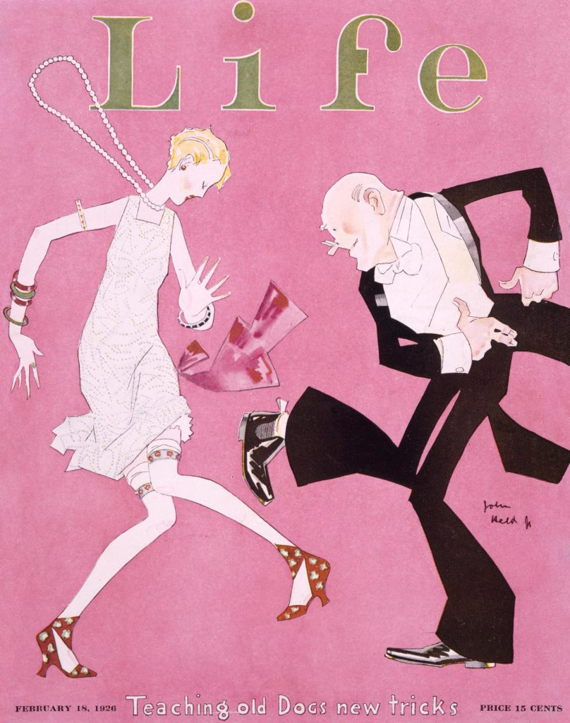 Flapper and escort on the cover of Life magazine (1926)