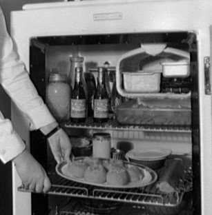 Early model electric refrigerator (ca. 1920)