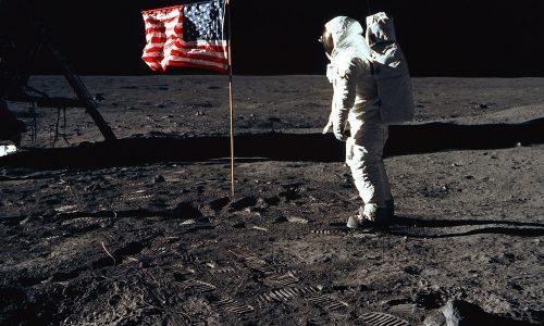 Buzz Aldrin walks on the Moon (1969)