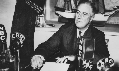 Franklin D. Roosevelt delivers fireside chat